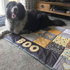 This gorgeous dog quilt is much appreciated by Boo, it's the large size.perfect for larger dogs. Personalised & made in your choice of colours.it's s perfect treat for your pet. Dog Quilts, Baby Quilts, Car Blanket, Picnic Blanket, Dog Lover Gifts, Lovers Gift, Dog Lovers, Personalised Cushions, Fabric Gifts