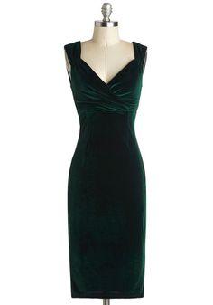 Lady Love Song Dress in Emerald Velvet, @ModCloth