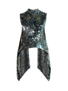 Metallic sequin-covered open-back top Kpop Outfits, Stage Outfits, Cute Outfits, School Outfits, Dark Fashion, High Fashion, Kpop Fashion, Fashion Outfits, Blusas Top