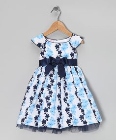 Take a look at this Blue Floral Bow Dress - Infant by Nannette on #zulily today!