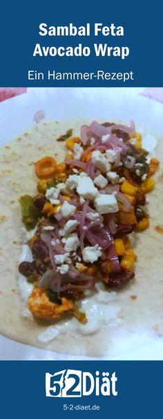 Das Sambal-Feta-Avocado-Wrap Rwezept ist in 15 Minuten serviert. The sambal-feta-avocado wrap recipe is served in 15 minutes. Alfred Jodl, Feta, Avocado Wrap, Wraps, Protein, Good Food, Ethnic Recipes, Komfort, Workouts