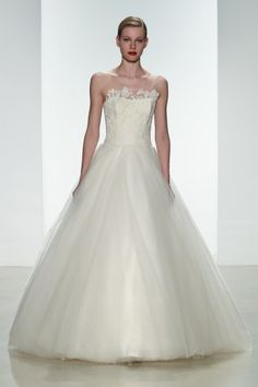 "Amsale Spring 2015 ""Kelly"" gown. Corded lace dropped waist #ballgown will full tulle skirt. #amsale #bridal #nitsas"