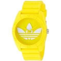 Adidas Unisex ADH6174 Santiago Yellow Watch ($62) ❤ liked on Polyvore featuring jewelry, watches, accessories, white, bezel watches, crown jewelry, white wrist watch, yellow dial watches and water resistant watches