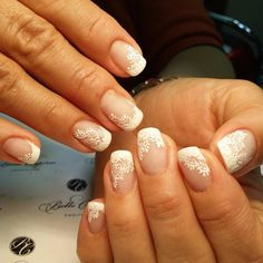 Accurate nails, Beautiful white nails, Lacy nails, Medium nails, Natural nails, Pattern nails ideas, Perfect nails, Spring french manicure