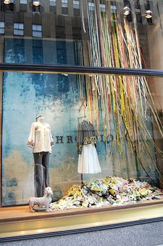 Colorful Ribbons of Rain, combine with hanging umbrellas for Springtime.. could display clothing items, toys, BAth items, etc