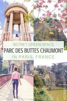 Parc des Buttes Chaumont: In search of Paris' best kept secret green space in the 19e arrondissement, Paris, France. Grotto, waterfall, lake, bridges!