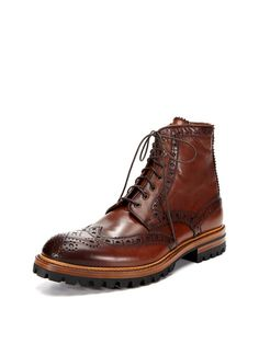 Brown Leather Wingtip Boot, with Rugger Sole, by Antonio Maurizi. Men's Fall Winter Fashion.