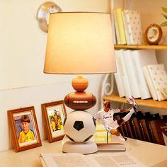Modern Children'S Room Table Lamps Fashion Bedroom Bedside Lamp Resin  Football Decorative Holder Reading Dimmable Desk Lights