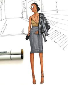 Style Inspiration. Leather jacket and pencil skirt illustration