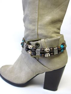 Boot Bling Turquoise Stone Wood White School by sweetie2sweetie, $22.99