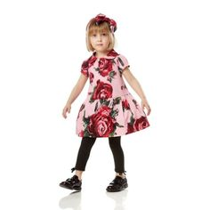 Rose-print dress - Girl - Fall-Winter