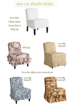 chairs with slipcovers…so old-school, but so cool and now too.