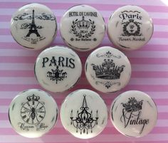New Vintage Handmade Knobs Drawer Pulls Paris France Shabby Chic Cottage French…