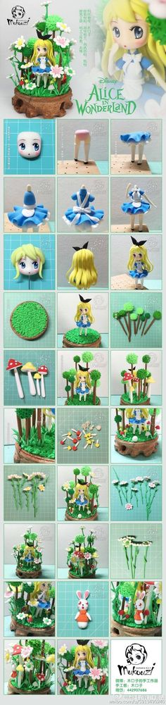 Oh my gosh, I love this! I'd make this for Katelyn if I could. :( Polymer clay Alice in Wonderland kawaii chibi tutorial (oh my gosh) Crea Fimo, Fimo Clay, Polymer Clay Charms, Polymer Clay Projects, Polymer Clay Art, Clay Crafts, Cake Topper Tutorial, Fondant Tutorial, Cake Toppers