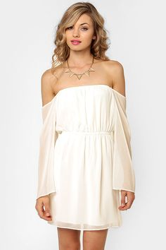 Cute Off-the-Shoulder Dress - Ivory Dress - $41.00 - lovelovelovelovelove