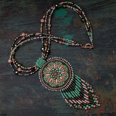 """Spirit of Alcázar"" necklace - inspired by Heidi Kummli, Czech seed beads only."