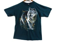 Vintage 90s Wolf Shirt - Large - Dark Green - Distressed - Made in Canada - 90s Clothing - 1990s Vintage Clothing - Vintage Tees - by BLACKMAGIKA on Etsy