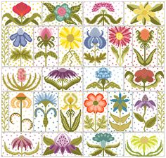 Funky Flower Collection-Counted Cross Stitch Charts.