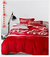 Coca Cola Coke Velvet Bedding Set: Sheet & Comforter Cover & Pillow Cases