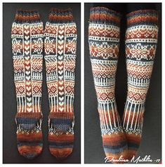 Sydänpalkkisukat by Pauliina Mathlin Knitted Slippers, Knit Mittens, Crochet Slippers, Knitting Socks, Free Knitting, Knitting Patterns, Knit Crochet, Knit Socks, Argyle Socks