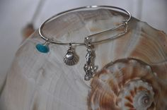 Expandable Alex and Ani type bracelet with Squid by SeaglassI, $15.95