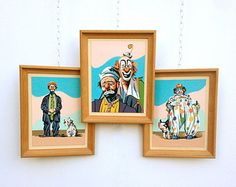 Vintage Clown Art, Framed Paint By Numbers Set of 3, MCM Home Decor