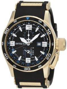 Men's Wrist Watches - Invicta Mens 1758 Aviator Flight GMT Black Dial Black Polyurethane Watch -- Check out the image by visiting the link. (This is an Amazon affiliate link)