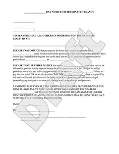 30-60 Day Termination of Tenancy Notice - Free Eviction Forms - 30 ...
