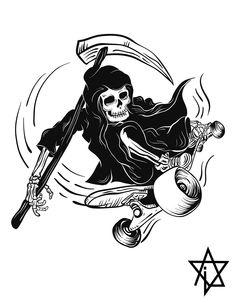 death ride on Behance Kunst Tattoos, Tattoo Drawings, Art Drawings, Art And Illustration, Skate Tattoo, Skeleton Art, Arte Obscura, Geniale Tattoos, Skate Art