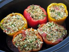 Great idea for when I'm working all day and no time to cook.  Crock pot stuffed peppers