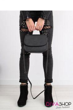 Geanta dama negru Inello Black Jeans, Pants, Fashion, Trouser Pants, Moda, Fashion Styles, Black Denim Jeans, Women's Pants, Women Pants