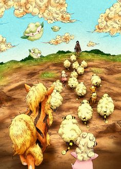 Mareep herding with Arcanine! I just love this as a possibility :)