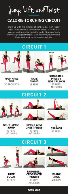 A 3-Circuit Printable Workout With Plyometrics. Get ready to burn major calories!