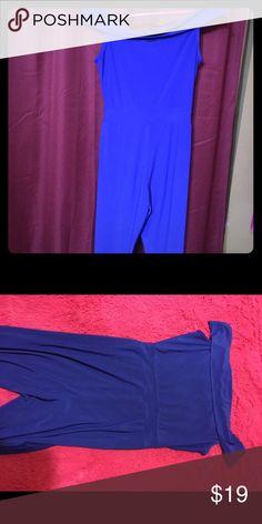 Blue jumpsuit Elegant party club jumpsuit fashion off shoulder wide leg pant Other
