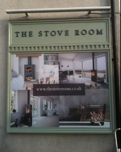 Exterior wall display in situ at Stove Room Stockton Heath Showroom