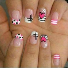 nail art para amor y amistad Love Nails, Pretty Nails, Fun Nails, Nail Art Designs Videos, Girls Nails, Cute Nail Art, French Nails, Manicure And Pedicure, Beauty Nails
