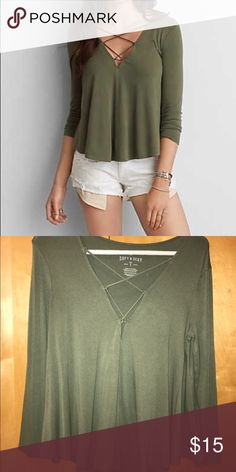 Soft & Sexy Tee Swing olive green tee. Neck string detailing American Eagle Outfitters Tops
