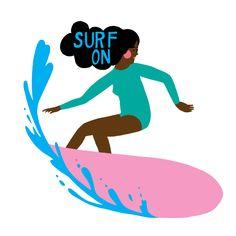 Surf Art Print of an Original Illustration, Giclee Print by KateMockfordStudio on Etsy