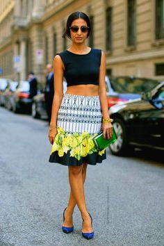scrolls and floral silk blend skirt