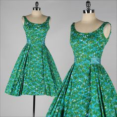 vintage 1950s dress . LEE CLAIRE . green by millstreetvintage