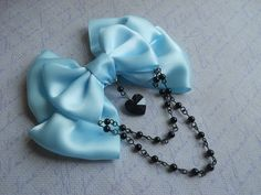 Pastel Goth Hair clip or Brooch blue bow with by LittleBanshees