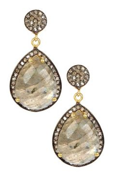 Labradorite & Diamond Teardrop Dangle Earrings