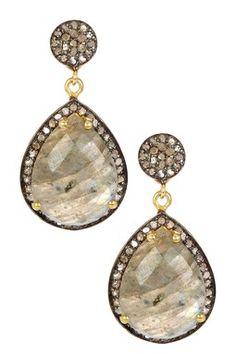 Labradorite & Diamond Teardrop Dangle Earrings