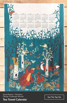 Tea Towel Calendar Design Challenge Winner! - Click to see the top ten: Ring in the new year with a favorite Spoonflower design tradition: Tea Towel Calendars. Celebrate 2018 (the year of the dog!) with a tea towel calendar design inspired by the new year ahead. #handmadegifts #diygift #handmade #teatowel #illustration