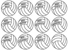 A variety of free printable volleyball awards and