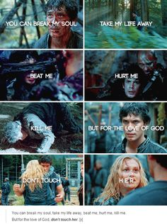 This gives me even more feelings now that Bellamy practically tried to kill Clarke. Like guys please just love each other okay