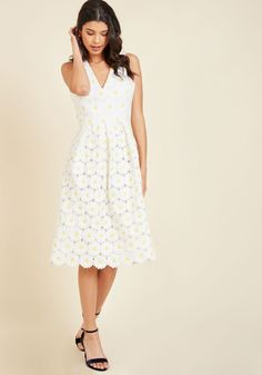 Flawless in Fleurs Midi Dress. Your unparalleled self is sure to blossom while clad in the daisy embroidery of this white midi dress! #yellow #modcloth