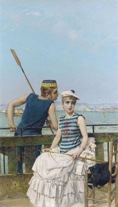 Vittorio Matteo Corcos (1859-1933) At the Regatta 1884 (99 x 57 cm)