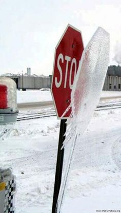 Stop sign in a North Dakota winter