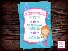 MERMAID BIRTHDAY INVITATION Under the Sea Invitation, Printable Mermaid Birthday Invitation, Mermaid Invitation, Third Birthday, Mermaid by BlissfulBethDesigns on Etsy